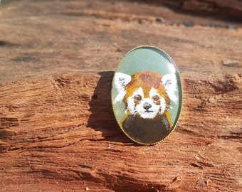 Hand Painted Red Panda Brooch