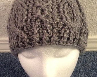 Crocheted Cable Stitch Beanie, Youth Size