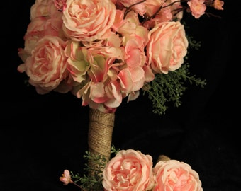 Bridal Party Wedding Package, Silk Garden Roses and Cherry Blossoms