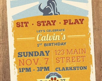 Sit, Stay, Play - Vintage Puppy Birthday Invitation (Printable)