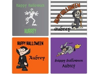 Personalized Halloween personalized treat bag sticker Halloween sticker halloween label halloween favor label halloween treat bag label