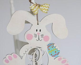 Monogram Floppy Ear Bunny - Easter bunny wreath