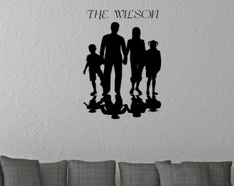 Family Silhouette Wall Decal Sticker,custom your family's name, home décor,Mural decal, family sticker, silhouette decor