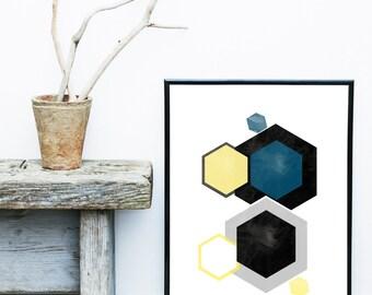 Geometric Wall Art, Hexagon print, Scandinavian Art, Geometric print, Nordic Design, Abstract Art Print, Black And Gold Decor, Giclee print