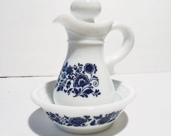 Vintage Avon Milk Glass Pitcher, Avon Collectible, Blue and White pitcher