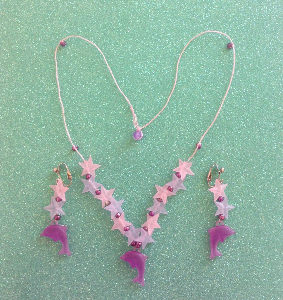 Girl's Purple Dolphin Jewelry Set Girl's Necklace And