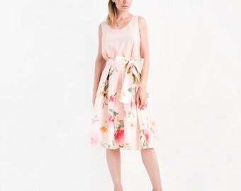 Clearance Sale - Floral Print Silk Midi Skirt // Full Skirts For Women