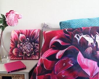Custom made Pink Dahlia Flower Pillow, Decorative Throw PILLOW home decor, Fine Art Pillow, Flower print made from original art