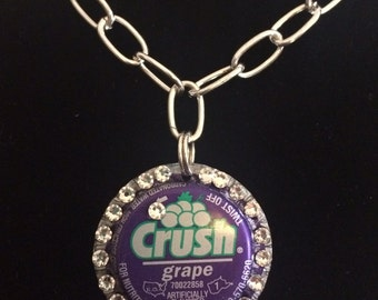 Crush grape soda pop bottle cap bottle top necklace recycled Eco friendly shabby chic Swarovski crystals rhinestones