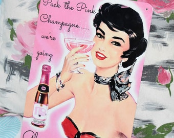 GLAMPING TIN SIGN! vintage caravan camper trailer retro metal wall art glamour camping Australian made! Pink & Cute! champagne fun 30x20cm