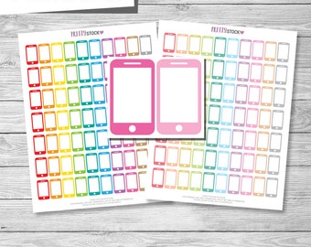 Cell Phone Stickers, Printable Cell Phone Stickers, Printable Cell Phone Planner Stickers, Planner Stickers, Printable Stickers - PS64