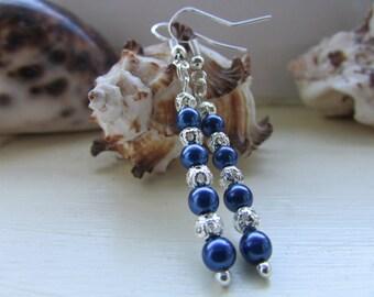 Dark blue earrings ,Blue and silver earrings , Beaded earrings , Silver plated earrings , Drop earrings , Dangle earrings