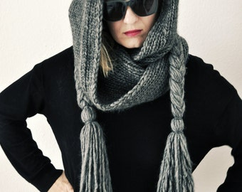 50% OFF Long hooded scarf with braids