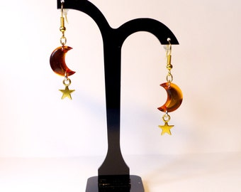Orange Moon and Stars earrings