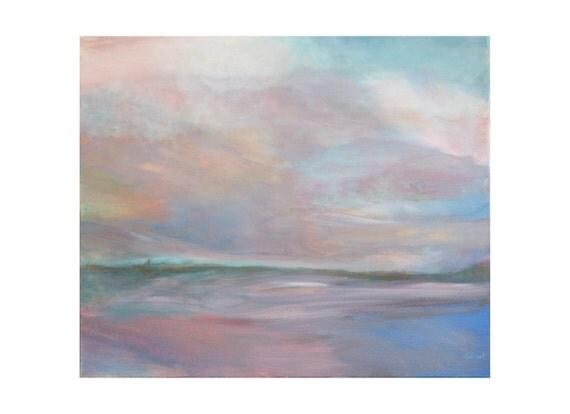 Tableau moderne paysage abstrait mer nuages par gegotpaintings - Tableau mer moderne ...
