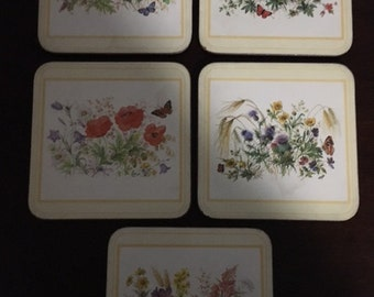 Vintage Set of Five (5) Coasters Made in England By Pimpernel 1980s to 1990s Flowers English Garden Cork Back