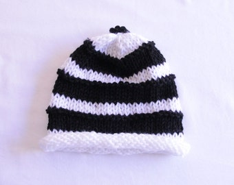 Black and White Knitted Toddler Hat