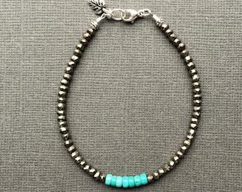 Pyrite and Turquoise Bracelet, Green Turquoise Beaded, Boho Skinny Bracelet, Earthy Colors, Tiny Silver Leaf Charm, Sundance Style Bracelet