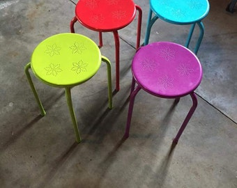 Set of 4 colorful stools