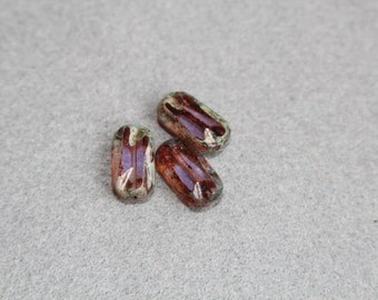 Clear Translucent Purple Picasso Finish Czech 16x8mm Flat Lavender Rectangle Bead, Brown Gray Glass Beads, Jewelry Making, Craft Supplies