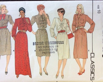 1980s uncut vintage sewing pattern Butterick 6004 Size 10 Bust 32.5 Waist 25 Hip 34.4 80s retro preppy shirtfront dress with frill jabot