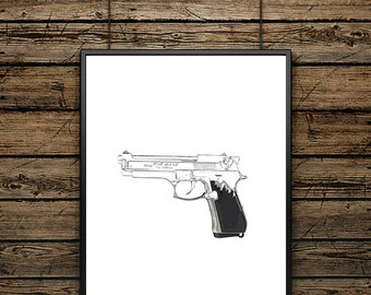 "Poster Drawing ""GUN"" - Scandinavian Style - Wall decoration - typographic design - Premium quality Illustration - Ideal for gift"
