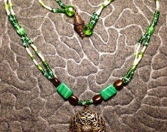 Hand-made Green,Brown,Bronze,  and Gold Owl Locket Necklace