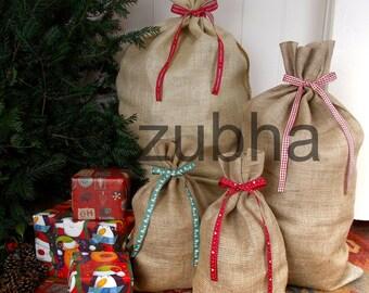 Christmas Hessian Sack with Beautiful Ribbon - Christmas Stocking, Santa Sack, Gift Bag