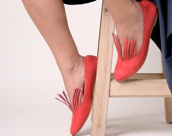 Red ballerinas, Slip-ons, Women's Shoes, Red leather shoes, Handmade shoes, Red shoes, Flat shoes, Red ballet flats, Red ballerina flats