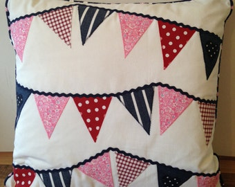 Navy and White Applique Bunting Cushion