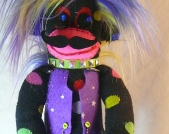 Classy Mustachey the Punkey Handmade & Designed Furry Stuffed Plush Sock Monkey