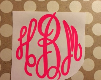 Fluorescent Neon Color Monogram Decal | Neon Pink Orange Green Yellow | Monogram Decal | Vinyl Decal | Car Decal | Laptop Decal