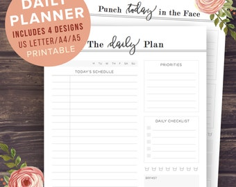 Printable Daily Planner, Daily Planner 2016 2017 Inserts, Planner Pages, Daily To Do List, Filofax A5, A4, Letter, Schedule, Organiser