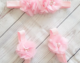 Pink baby barefoot sandals and headband SET, photo prop, baby accesories