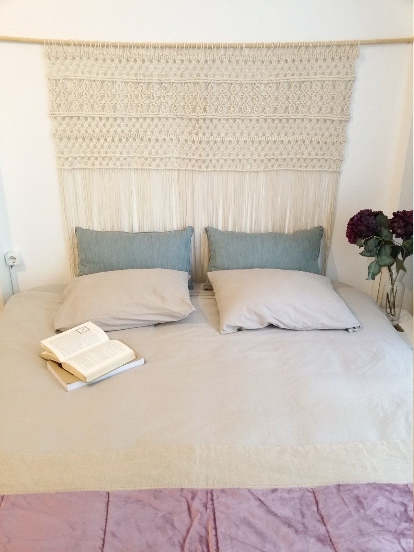 suspension en macram grande t te de lit en macram. Black Bedroom Furniture Sets. Home Design Ideas