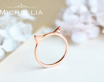 Solid Gold Cat Ring, Diamond Cat Ear Ring, 14K 18K Rose gold Kitten Ring, Whimsical Gift, Cat Jewelry, Pet Gift, Birthday Birthstone Gift