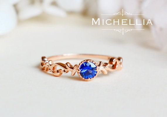 14k/18k Gold Sapphire Floral Ring, Blue Sapphire Iris Ring