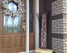 Articles uniques correspondant panneau bois rustique etsy for Pancarte bienvenue pour porte
