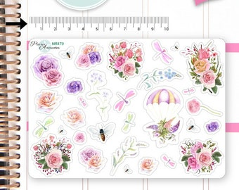 Flower Stickers Roses Stickers Spring Stickers Planner Stickers Erin Condren Functional Stickers Decorative Stickers NR479