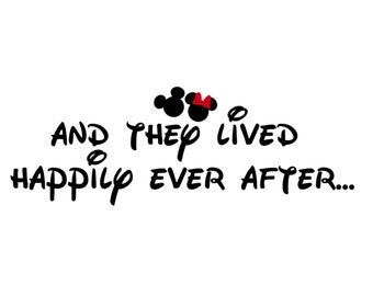 And they lived happily ever after... Honeymoon Couples Couple Matching Love Mickey Minnie Mouse Disney Iron On Decal Vinyl for Shirt 415