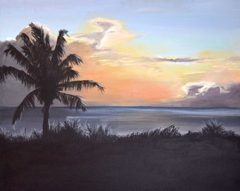 Barbados orange sunset - original acrylic painting