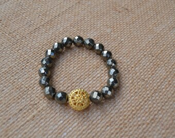 Faceted Pyrite Beaded Bracelet with Gold Plated Filigree Bead