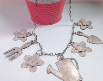 Gardening tools necklace, watering can, flowers, galvanized metal