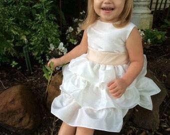 Homemade hand-sewn toddler flower girl dress