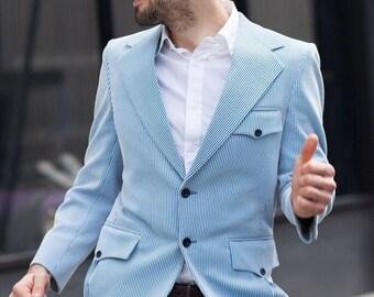 Union Made/ 1960's/ Sports Coat/ blazer/ men's suit/ men's vintage/ clothing/ man's 60s suit/mens suits/mens small/blue sports coat