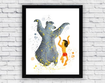 Baloo and Mowgli Watercolor print, Baloo and Mowgli Printable Wall Art, Baloo and Mowgli poster