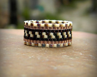 Seed bead ring Beaded ring Peyote ring Beadwoven ring wide band ring Beadwork jewelry Seed bead jewelry Ethnic ring Boho ring Peyote band
