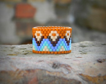Size 7 boho ring band Women wide band ring Bohemian beaded ring Modern seed bead jewelry Peyote ring Ethnic style beaded jewelry Hippie ring
