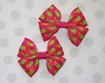 Pink and Green Whale Hair clip Hair Bows