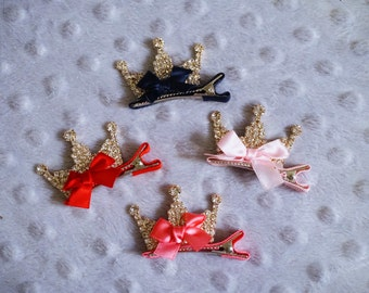 Jeweled Princess Crown Hair Clip With Bow